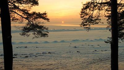 Перед заходом солнца Финский залив зима закат
