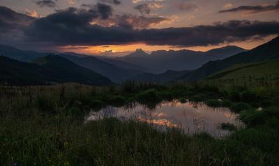 *** кавказ кабардино-балкария закат горы озеро отражение вечер