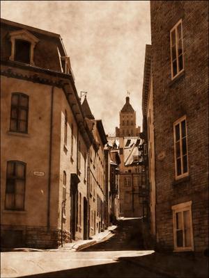 Старые улочки Верхнего города. Канада Квебек.Квебек-сити старый город улочки ЮНЕСКО булыжная мостовая Canada Quebec