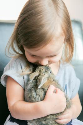 Любовная нежность девочка кролик нежность доброта забота