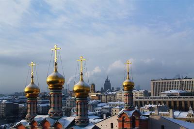 * город купола золотые Москва центр Кремль ГКД Moscow Russia winter city sky небо