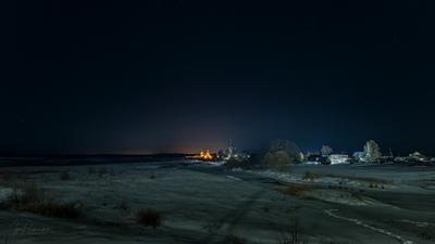 Сияние над монастырем март дунилово мороз вечер монастырь река теза