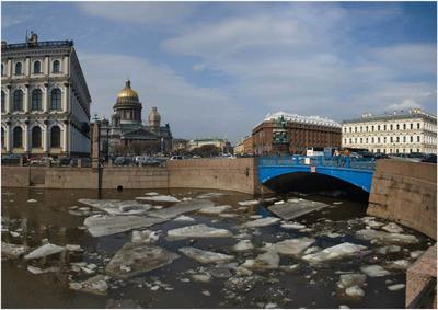 Синий мост лед весна исаакий синий мост