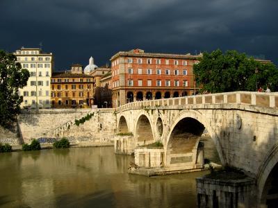 Свет Рима Рим, мост, свет, Тибр