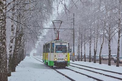 *** трамвай зима снег