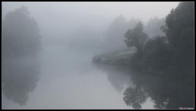 Река, одетая в туман... утро туман река Пекша