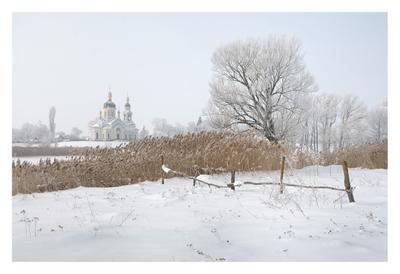 Февральский рисунок пейзаж февраль утро иней церковь