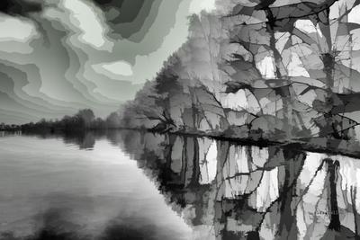 Осколки... Алексей Беляев alexbell30 цифровая живопись пейзаж деревья Вода Небо Озеро Отражение
