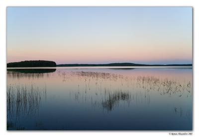 Тишина пейзаж, карелия, озеро, вечер, закат