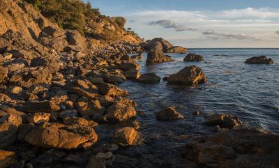 *** Крым Новый Свет закат море Черное берег камни осень октябрь
