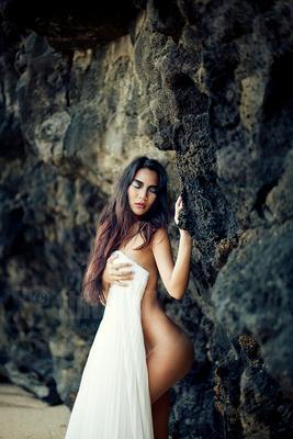balance model, Mauritius, africa, rocks, shore, beach, bride, dress, white, makeup