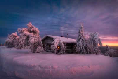 Вечер перед Рождеством зима снег елка вечер закат небо домик финляндия
