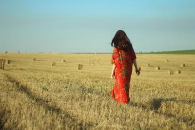 Осенний простор осень сено солома поле желтый солнце небо платье катышки простор