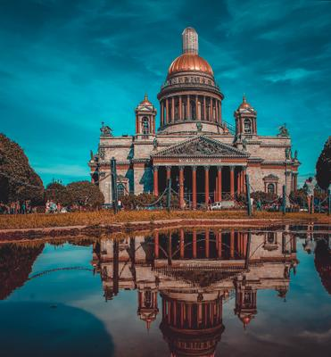 Исаакиевский собор Питер отражение сабор площадь лето фильт архитектура небо