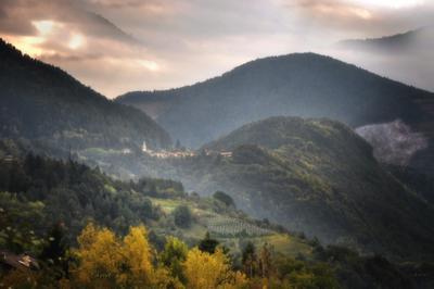 sagonzano тироль италия горы закат церковь виноградники