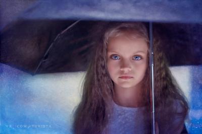 Дождь девочка ребенок дождь зонтик глаза