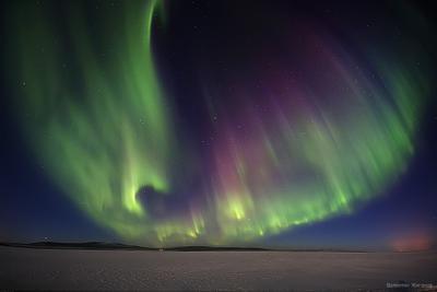 Полярное сияние в первый день весны заполярье сияние весна Хибины Имандра север полярное