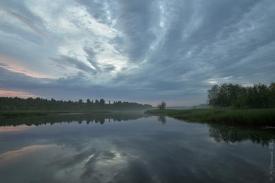 Время белых ночей Пермский край Соликамский р-он Верхнее Мошево Мошевица вечер после дождя заката июнь белые ночи