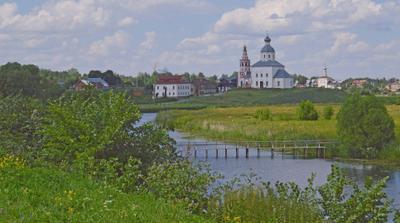 Прогулки по Суздалю Суздаль лето мостик Ильинская церковь