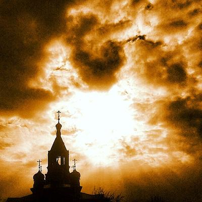 LIGHT VS DARKNESS церковь храм закат религия небо солнце надежда