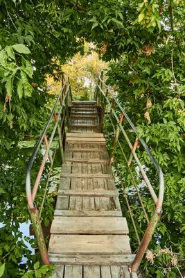 Деревянный ступеньки на пешеходный мостик природа река мост зелень