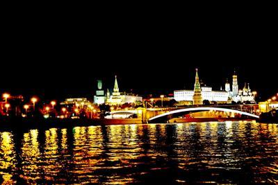 Ночная прогулка Москва Кремль Москва-река ночь