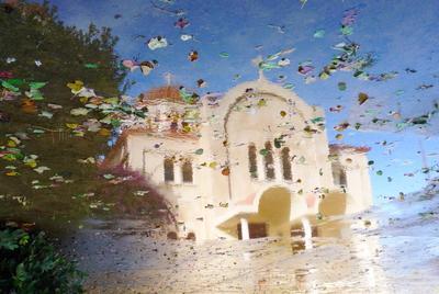 С Рождеством! отражение храм церковь акварель мечты