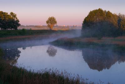 Зеркало пейзаж рассвет река туман деревья отражение