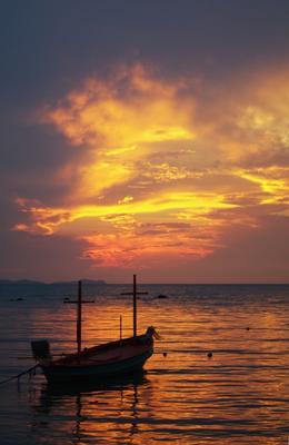 Закат на Сиаме закат, небо, море, лодка, Сиам, Таиланд