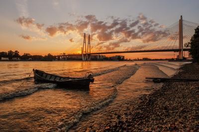 про Летний Вантовый Закат... санкт петербург вантовый большой обуховский мост лодка кад лето закат нева река