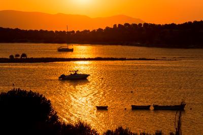 Sunset in Fethiye Sunset boats