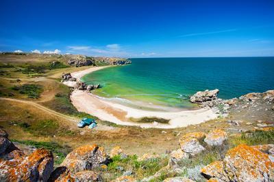 Бирюзовый Крым крым море азов дикий пляж красота бирюза скалы путешествие палатки 4х4
