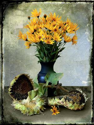 подсолнухи и цветы топинамбура подсолнухи, семечки, цветы топинамбура, черный керамический кувшин, осень