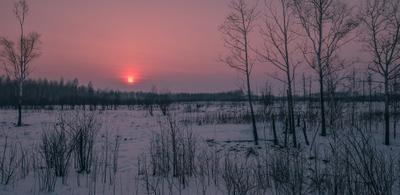Морозный закат. зима мороз закат марь