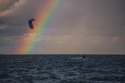 К радуге по волнам Природа пейзаж радуга залив
