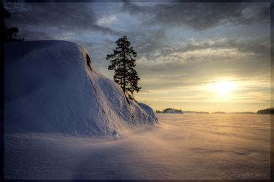 Утро на зимней Ладоге ладога шхеры острова небо снег солнце восход утро