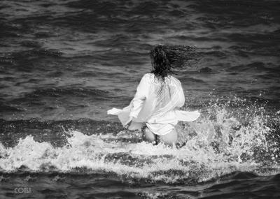 Joy dress girl recreation woman beach horizon over water sexy surf seashore sea sun wind splashes waves buttocks naked mermaid runs happiness joy freedom константин скоморох konstantin skomorokh