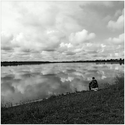 на берегу неба небо рыбалка озеро облака