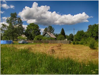 Это было летом, летом...) Пастораль сенокос облако летние зарисовки пейзаж дом