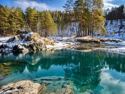 Голубые озера Озеро март Алтай