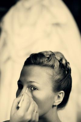 невеста... невеста свадьба подготовка макияж чб