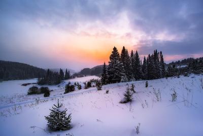 Природа Удмуртии, Зима Удмуртия Пейзаж холмы закат Шаркан Зима Природный парк снег поля Россия