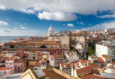 Lisbon skyline with the Pantheon. Lisbon, Portugal, city