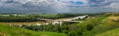 река Кубань река природа мост лес небо зелень синий зеленый вода пейзаж