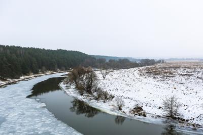 Москва-река. зима река снег природа