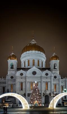 Храм Христа Спасителя Москва Новый год зима город ночь Рождество храм