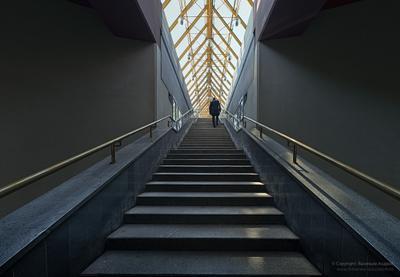 Уходящий Лестница человек