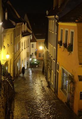 Майсен зимним вечером Германия Майсен город вечер