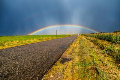После дождя... дорога радуга поля небо облака лужи лето август