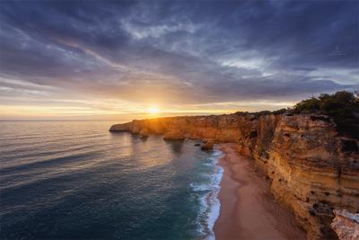 Краски южного берега Португалия алгарве океан атлантика закат пейзаж